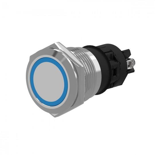 Кнопка металлическая с фиксацией и синий подсветкой